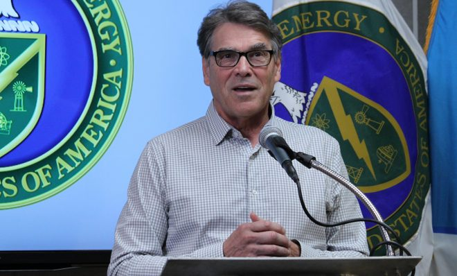 U.S. Energy Secretary Rick Perry answers questions during a media availability following a tour of Sandia National Laboratories in Albuquerque, N.M., on Tuesday, Oct. 9, 2018. Perry said he was confident that Sandia and Los Alamos National Laboratory will continue to play significant roles in the nation's weapons program.