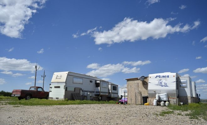 Oil workers and their families live in a variety of makeshift homes in the Fox Run RV Park outside Williston, North Dakota, pictured here in 2015.