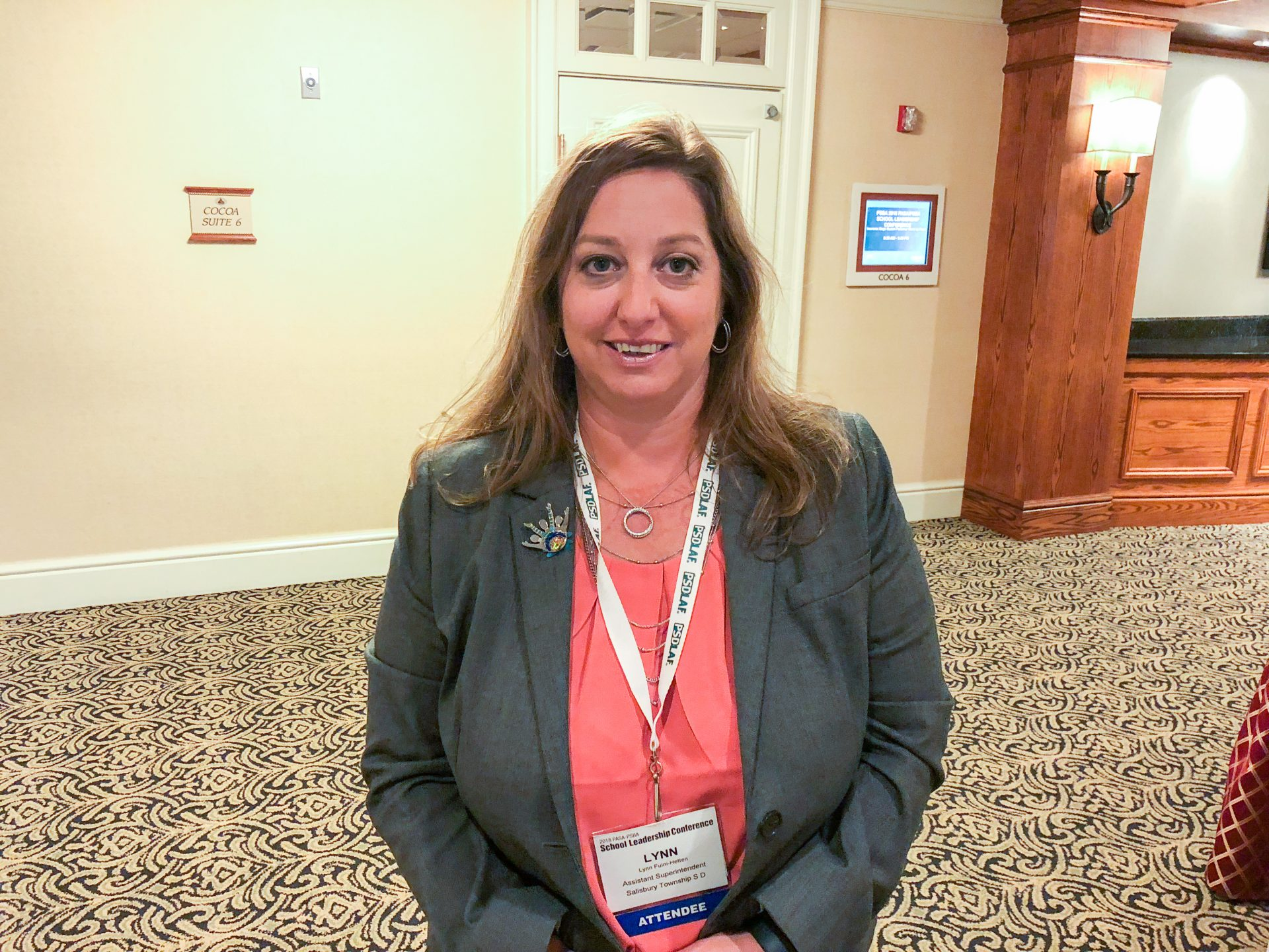 Lynn Fuini-Hetten is the associate superintendent of Salisbury Township School District in Lehigh County. She is seen here at a conference in Hershey on Oct. 18, 2018.