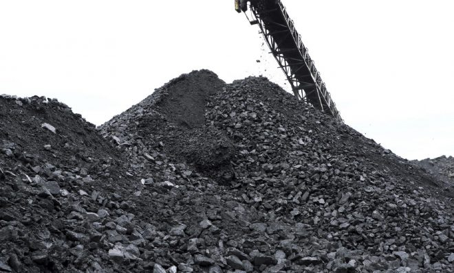 Coal is piled up at the the Blaschak Coal Corporation pit mine Dec. 4, 2018, in Mount Carmel, Pennsylvania.