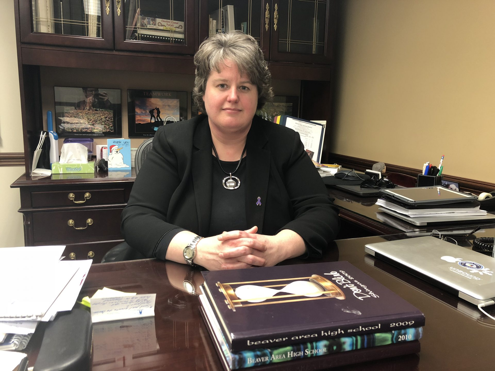 Carrie Rowe, superintendent of the Beaver Area School District, is seen in her office on Dec. 13, 2018.