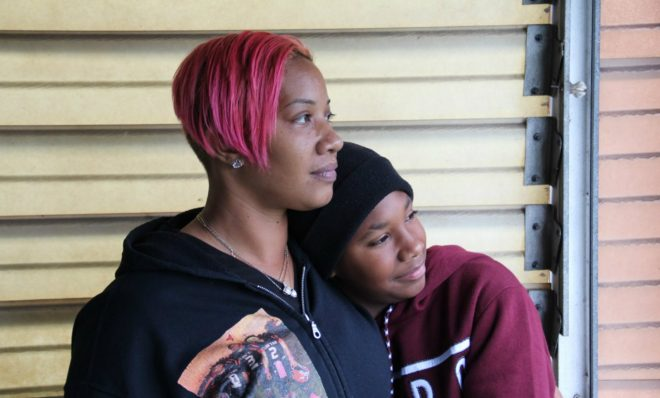 Collette Williams and her son SaVaughn, 13, live a few blocks from the Clairton Coke Works.