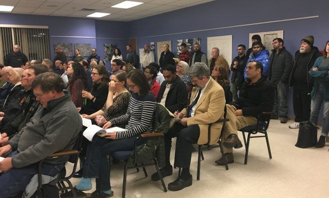 Residents pack a Franklin Park borough council meeting Wednesday night in anticipation of a vote on whether to allow natural gas drilling under a park.