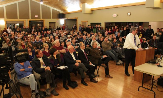 People packed a room for a public hearing on fracking in Franklin Park, Pa. on Monday, Jan. 14.