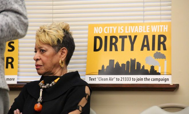 Cheryl Hurt of Clairton at a press conference to discuss air pollution from US Steel's Clairton Coke Works.