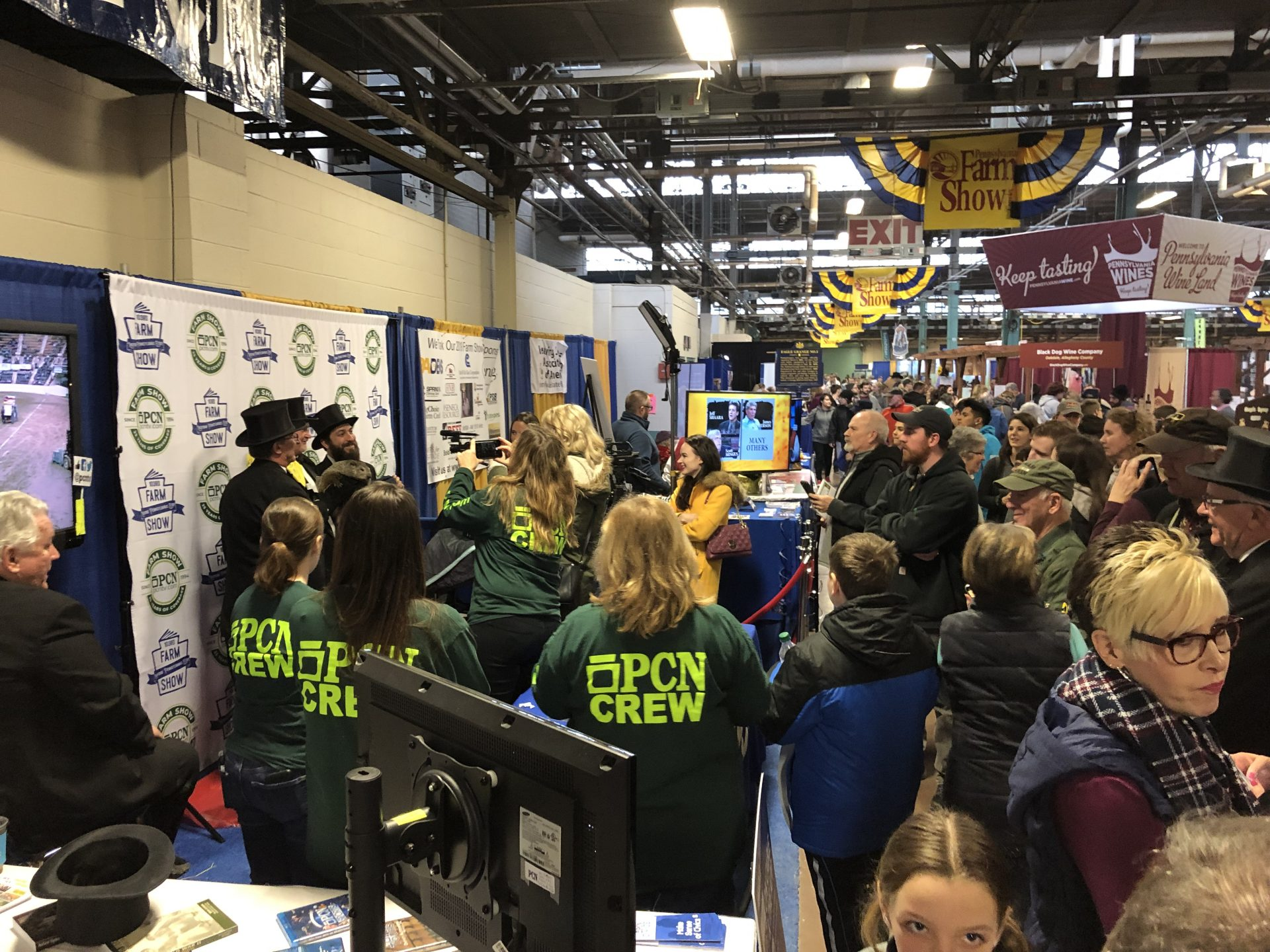 A group of people surround Punxsutawney Phil and members of the Inner Circle on Jan. 8, 2019, at the Pennsylvania Farm Show Complex in Harrisburg.