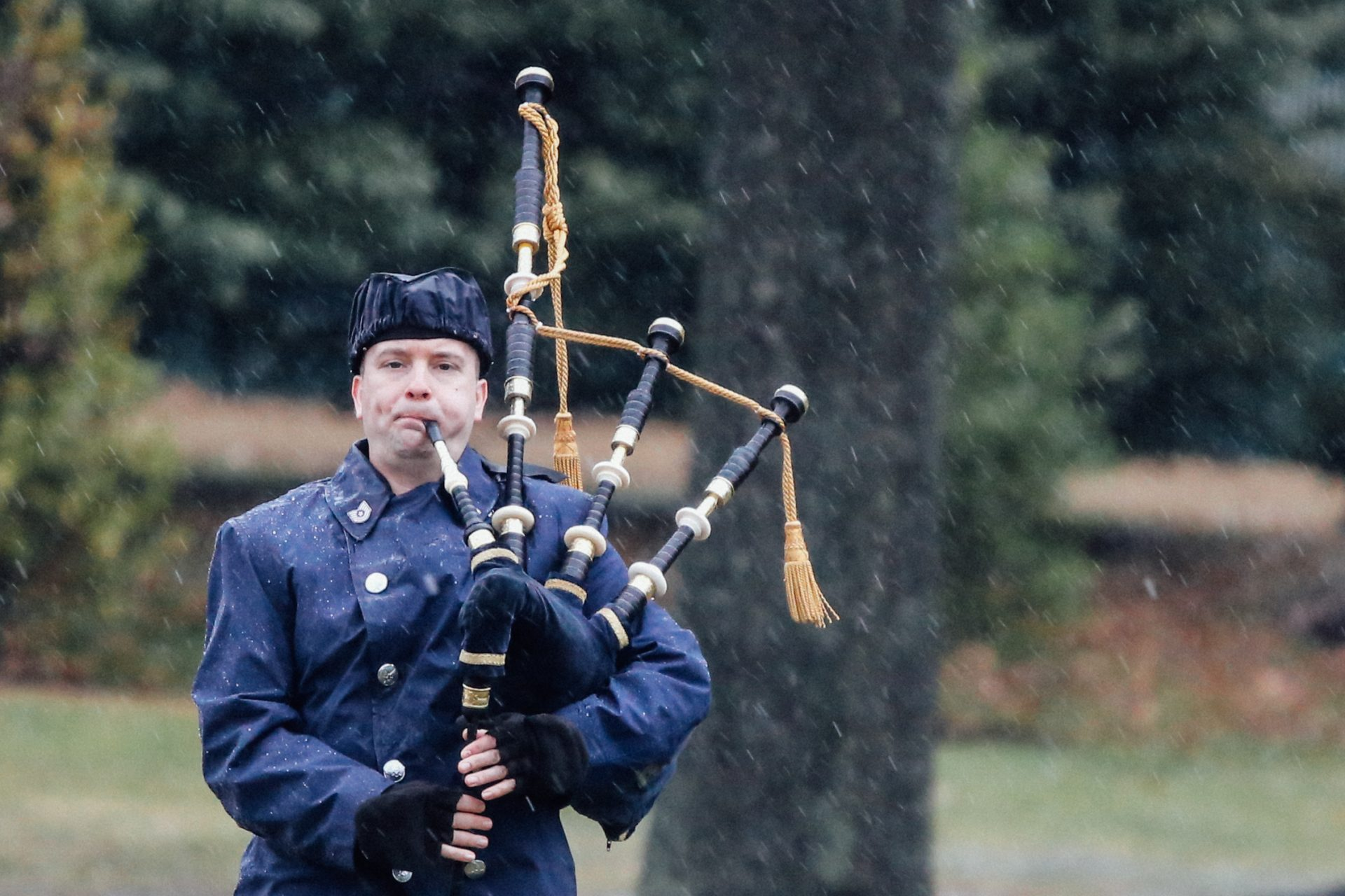 "A bagpipe player performs ""Amazing Grace"" on Jan. 24, 2019 at Arlington National Cemetery."