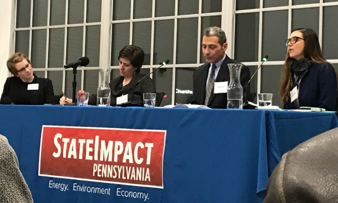StateImpact Pennsylvania reporter Amy Sisk, left, with panelists Paulina Jaramillo, Greg Reed and Ivonne Peña at a public event in Pittsburgh Tuesday Jan. 29 called