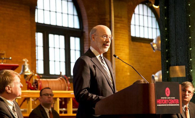 Gov. Tom Wolf announces targets for greenhouse gas emissions reduction in Pittsburgh Tuesday, Jan. 8, 2019.