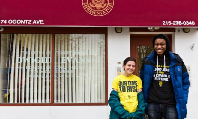 Abigail Leedy, left, and other climate justice activists have been visiting congressional offices in the city, asking for support for the Green New Deal.