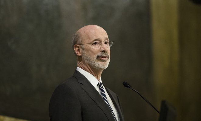 Democratic Gov. Tom Wolf delivers his budget address for the 2019-20 fiscal year to a joint session of the Pennsylvania House and Senate in Harrisburg, Pa., Tuesday, Feb. 5, 2019.