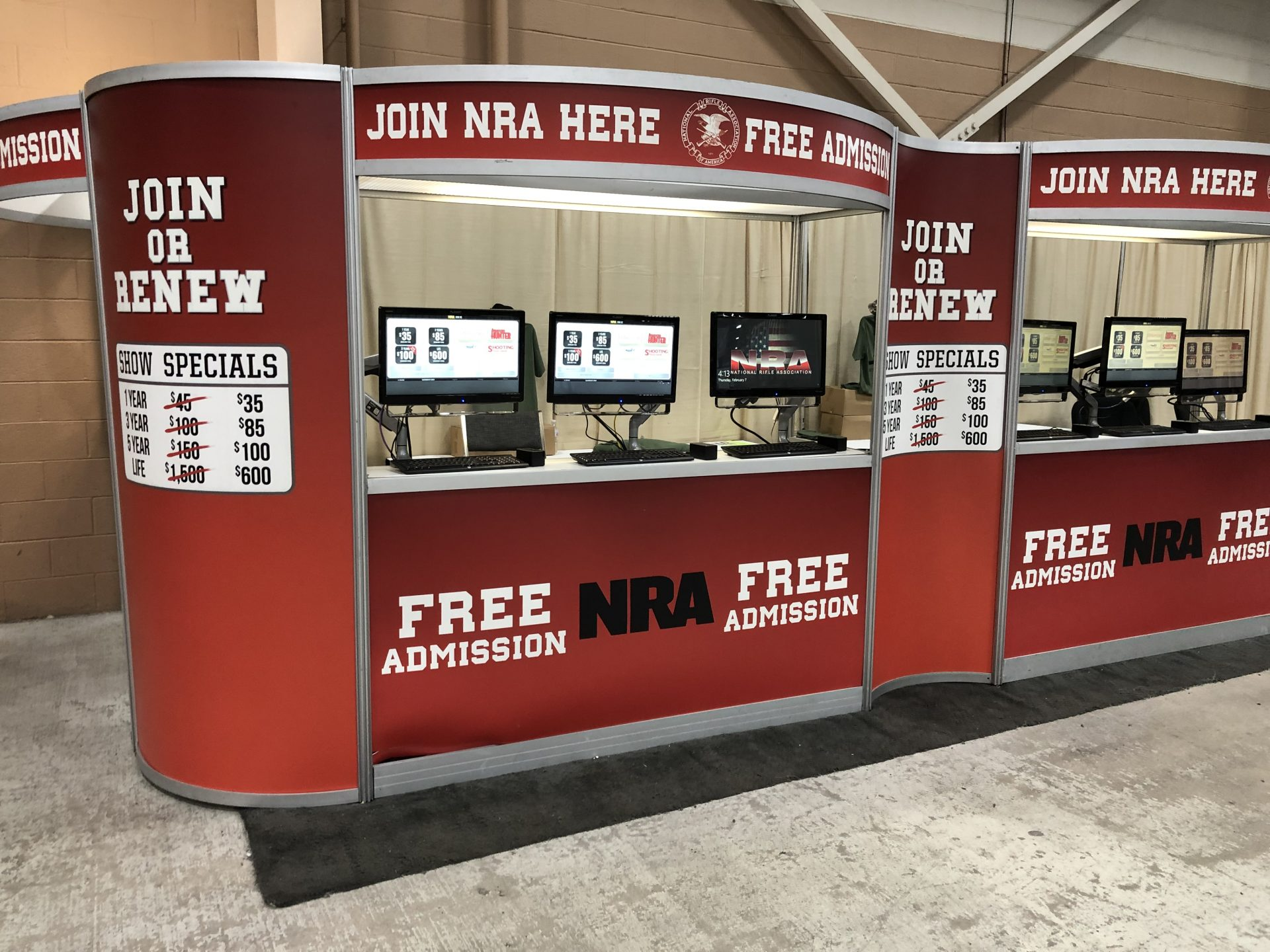 A booth at the Great American Outdoor Show in Harrisburg is seen on Feb. 7, 2019. The NRA offers free admission to the show for people who join or renew their membership.