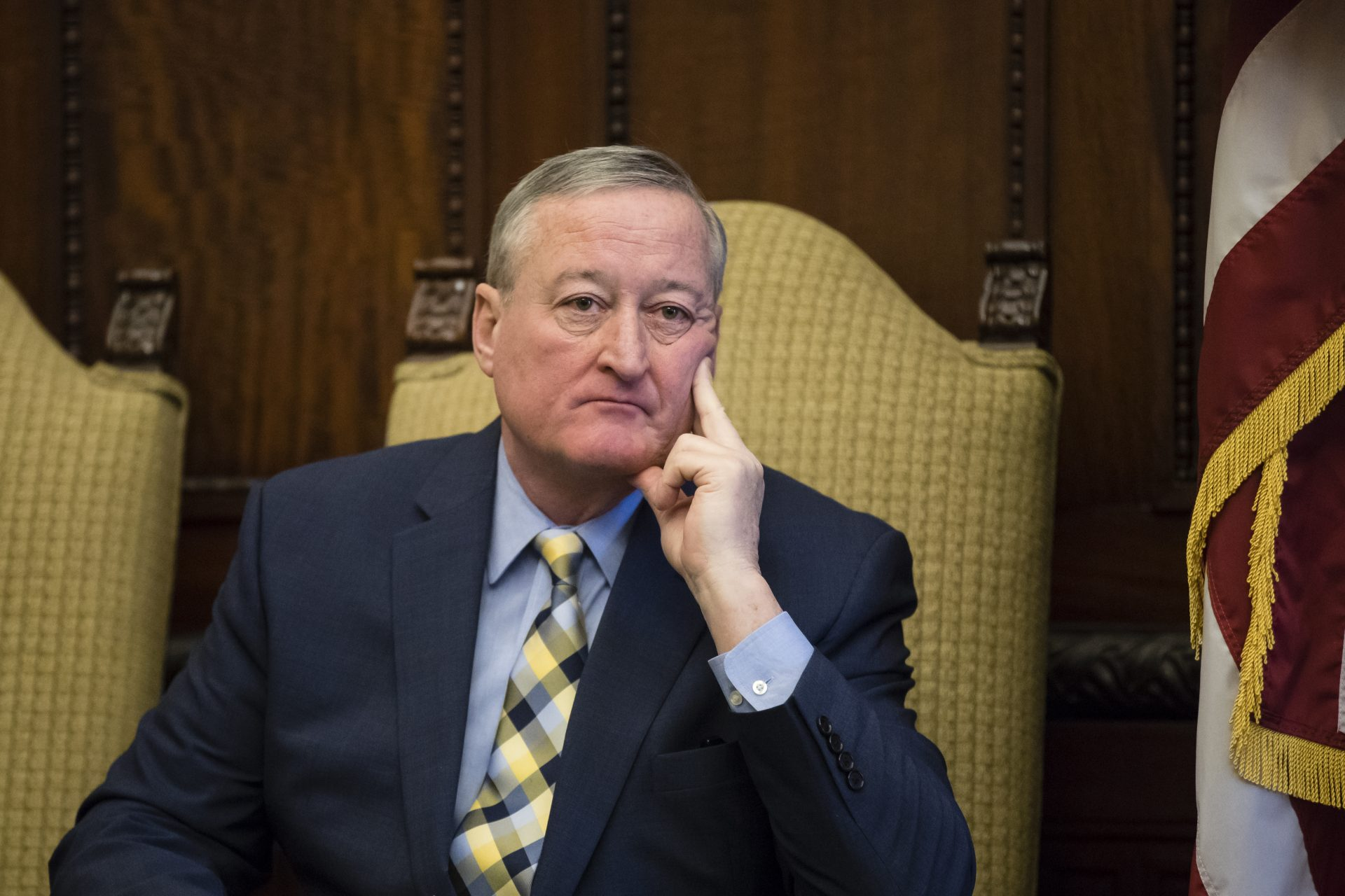 Philadelphia Mayor Jim Kenney listens during a news conference at City Hall in Philadelphia, Thursday, Jan. 17, 2019.