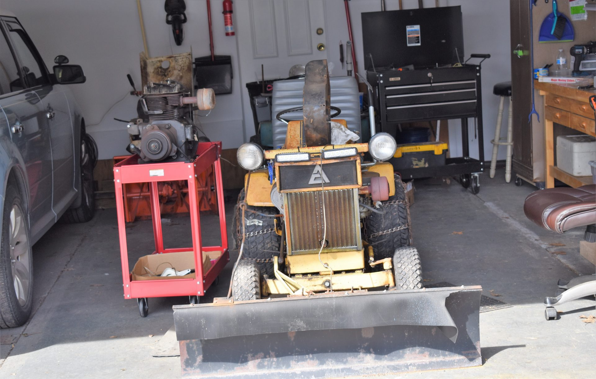 One of Bob Smith's little tractors is seen in his garage on March 11, 2019.