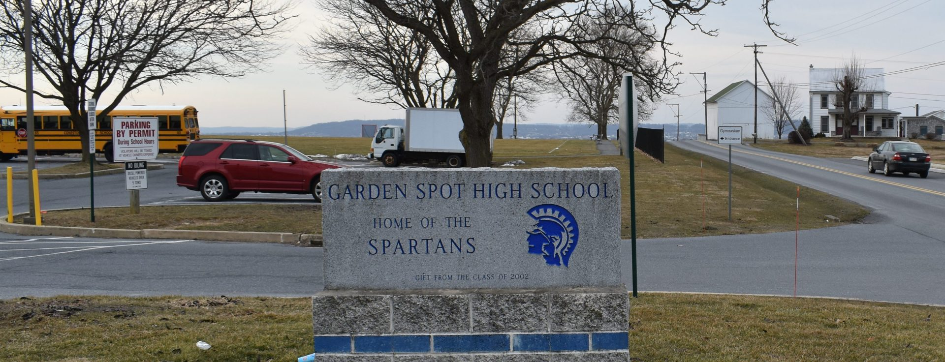 An entrance to Garden Spot High School is seen on March 14, 2019.
