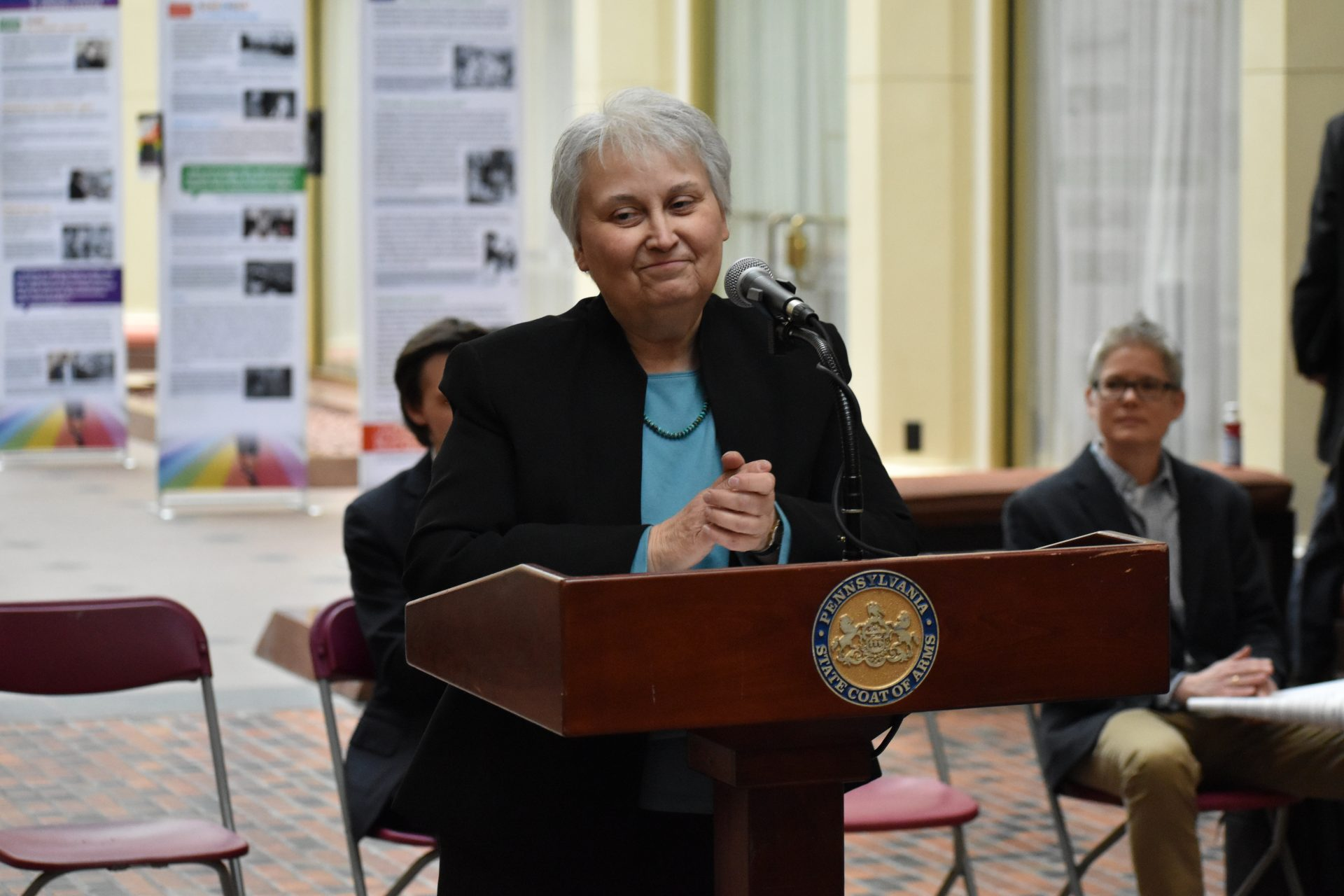 "Mary Nancarrow, who advocated for a nondiscrimination ordinance in Harrisburg in 1983, speaks during the opening ceremony for ""The Long Road to LGBTQ+ Equality in Pennsylvania."""