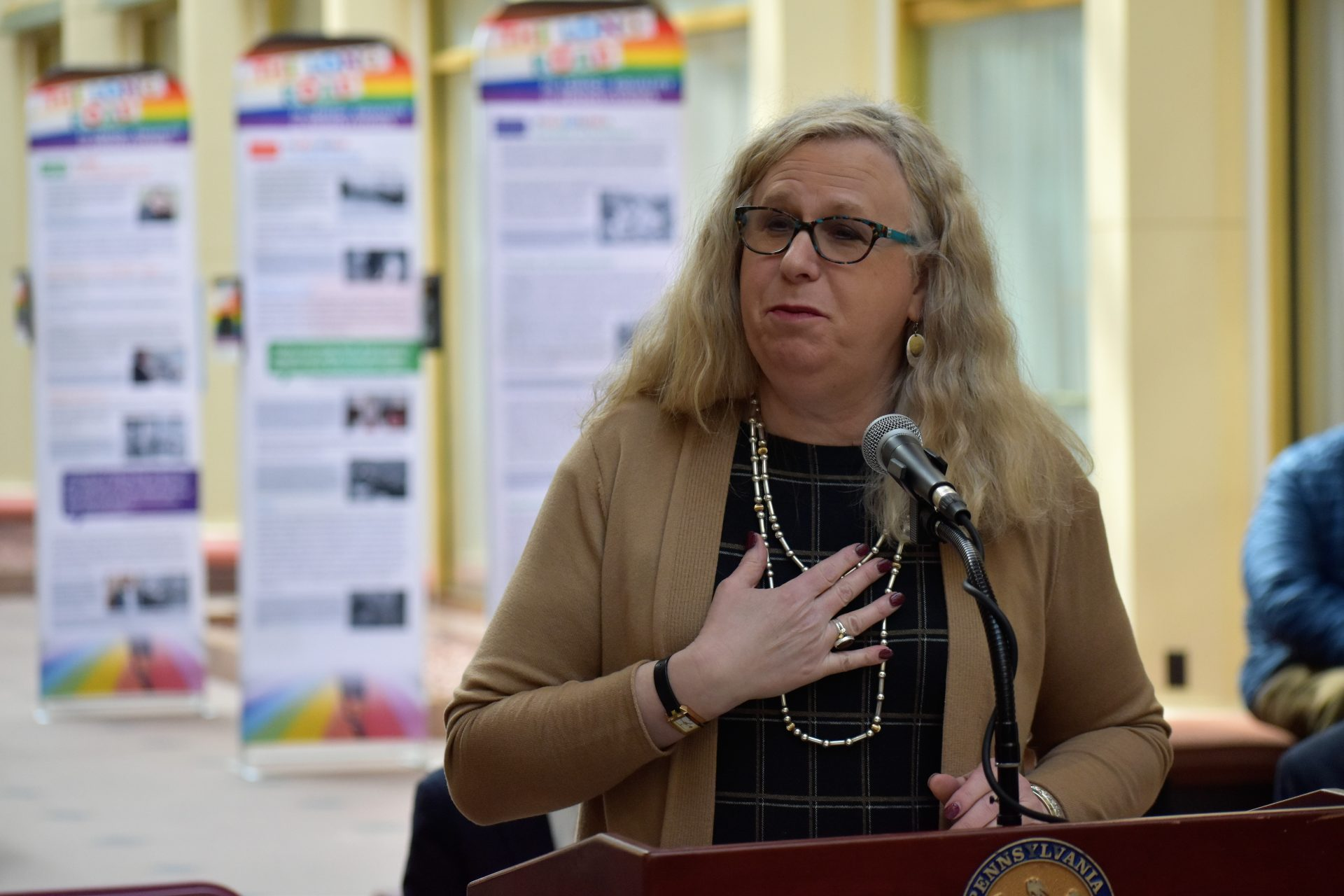 Dr. Rachel Levine speaks during a ceremony in the state Capitol on Monday, March 18, 2019.