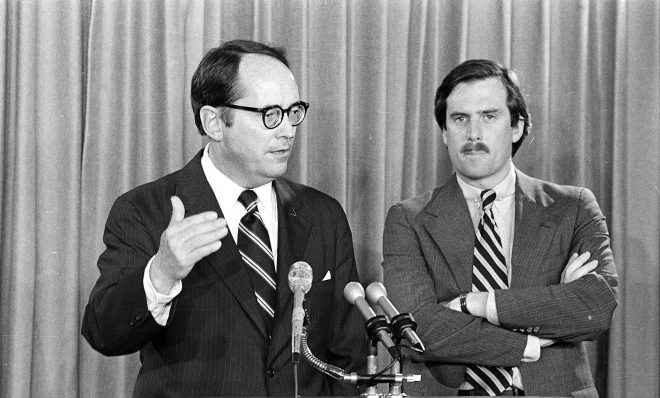 Pennsylvania Governor Dick Thornburgh, left, announces the closing of schools in the area around the Three Mile Island PWR, on March 30, 1979, in Harrisburg, Pa., after an accident at the nuclear power plant led to the release of radioactive gas from the reactor into the atmosphere. The governor advised the evacuation of small children and pregnant women. Standing at right is Lt. Gov. William Scranton.
