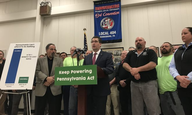 Rep. Thomas Mehaffie (R- Dauphin) unveils a bill aimed a preventing the early closure of two of Pennsylvania's five nuclear power plants.