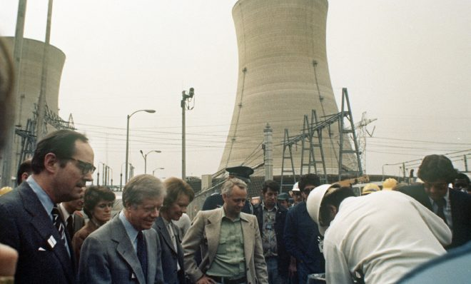 FILE PHOTO: Three Mile Island nuclear plant incident - President Jimmy Carter, second from left, visits the nuclear plant near Harrisburg, Pa., USA, April 4, 1979.