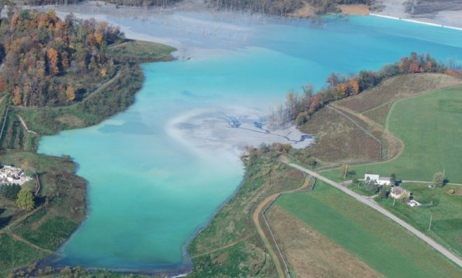 Little Blue Run, the largest coal ash pond east of the Mississippi, along the Pennsylvania-West Virginia border.