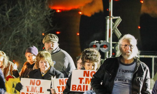 Protesters gather for a vigil outside the north gate of the Three Mile Island nuclear power plant in Londonderry Township, Dauphin County.