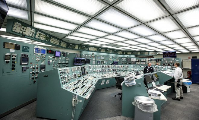 This is the control room for the Unit 1 reactor at Exelon Corporation Three Mile Island nuclear generating station in Londonderry Township, Dauphin County.  May 22, 2017.