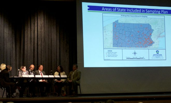 In this file photo, people at a community meeting in Abington, Pa. on April 15, 2019 got an update of where the state will test drinking water for levels of the toxic family of chemicals known as PFAS.