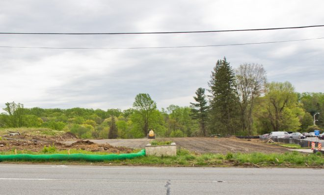 Crews work at the site of a sinkhole along the Mariner East pipeline route near the Pennsylvania State Police barracks on Route 1 in Delaware County on Thursday, April 25, 2019. Pipeline builder said there were no leaks and no pipelines were exposed.