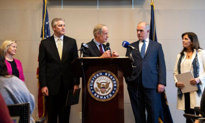 In a news conference, Del. Sen. Tom Carper, alongside Pa. Sen. Bob Casey, discusses measures pushing for a federal response to PFAS chemical contamination, following a roundtable discussion at the Horsham Township Library in Horsham, Pa. on Monday, April 8, 2019.