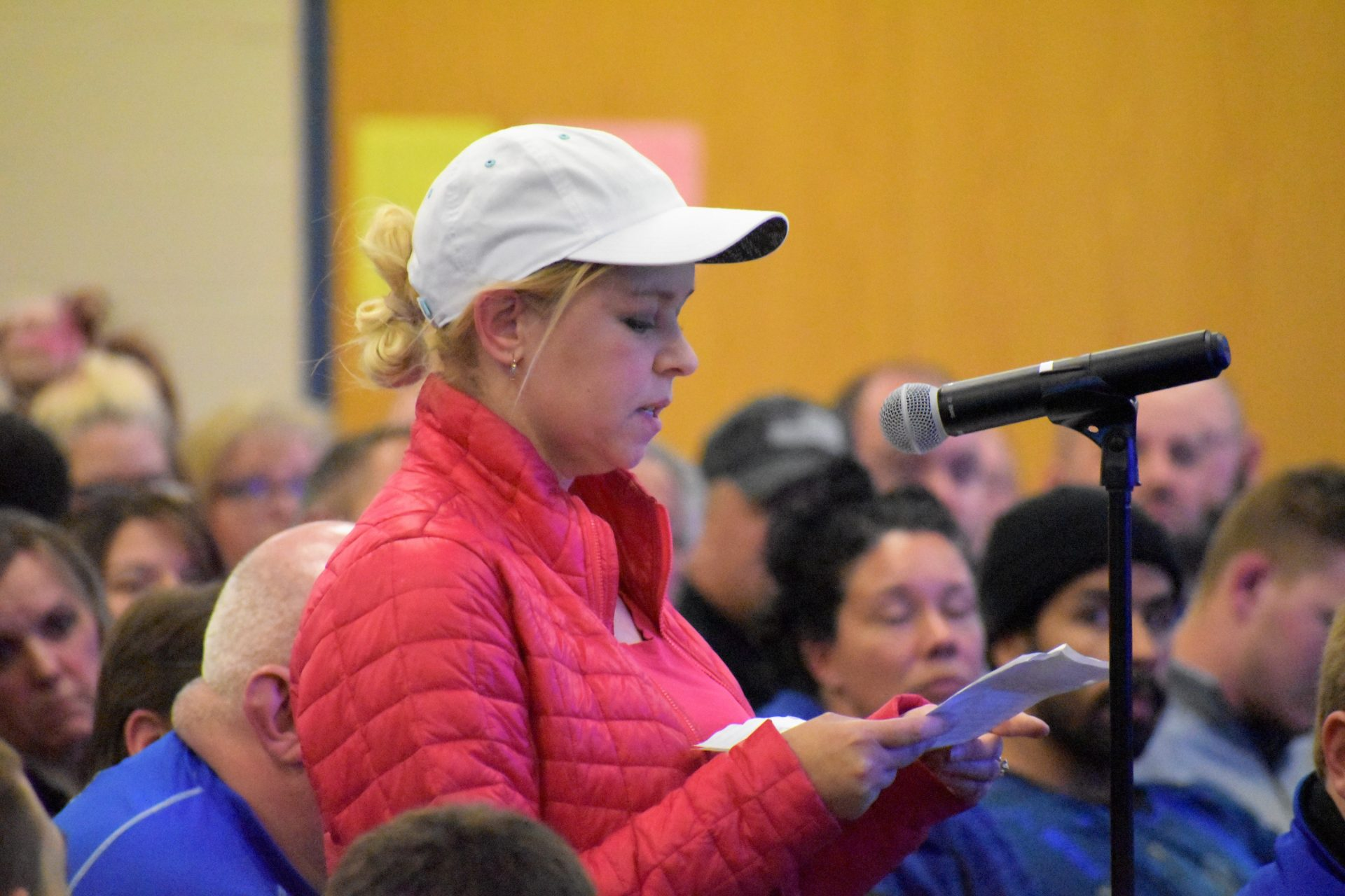 Hope Adkins-Durante, a mother of three children in the Eastern Lancaster County School District, speaks during an April 15, 2019, school board meeting.
