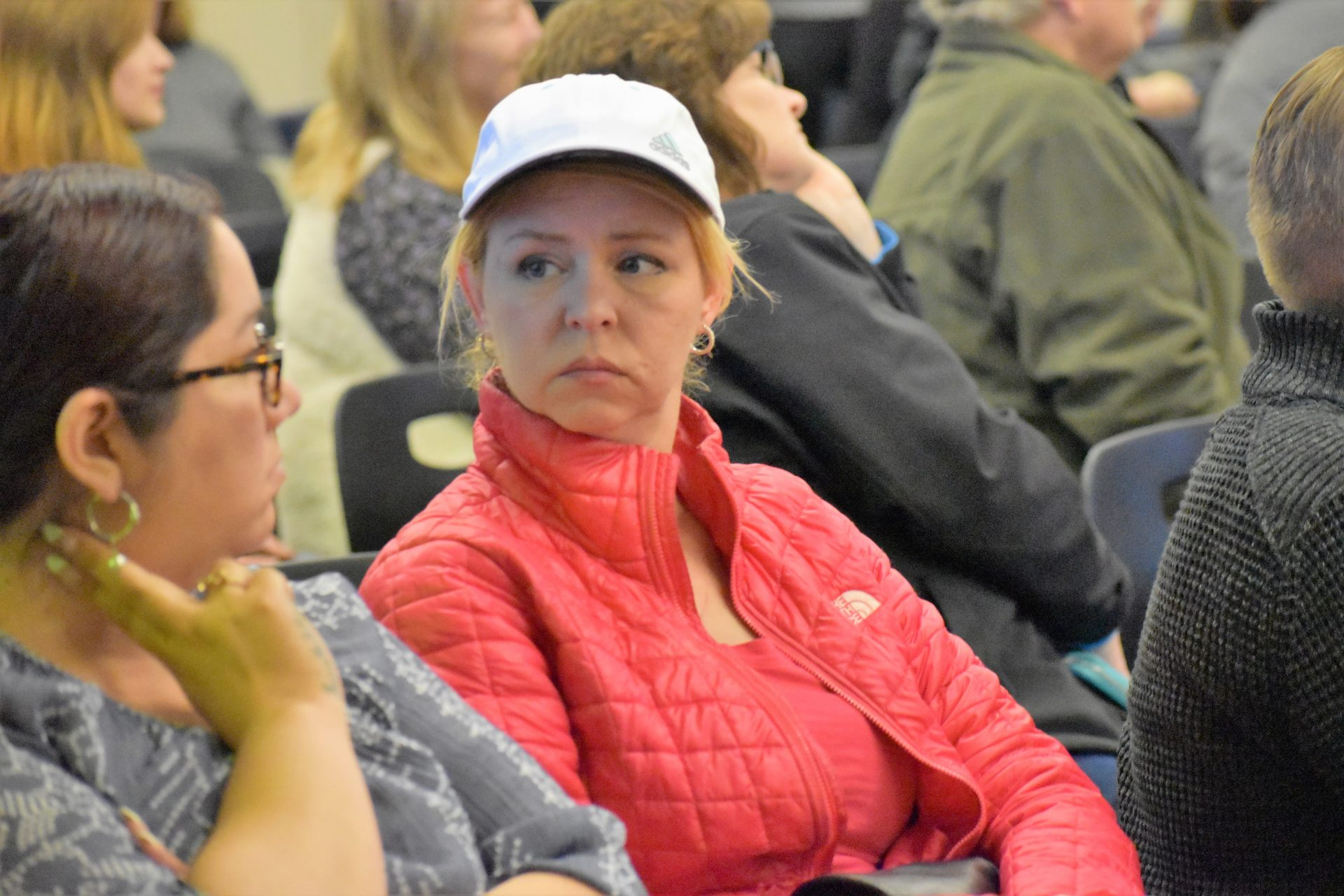 "Hope Adkins-Durante waits for the Eastern Lancaster County school board to vote on a ""biological sex"" policy for students on April 15, 2019. Adkins-Durante opposed the policy."