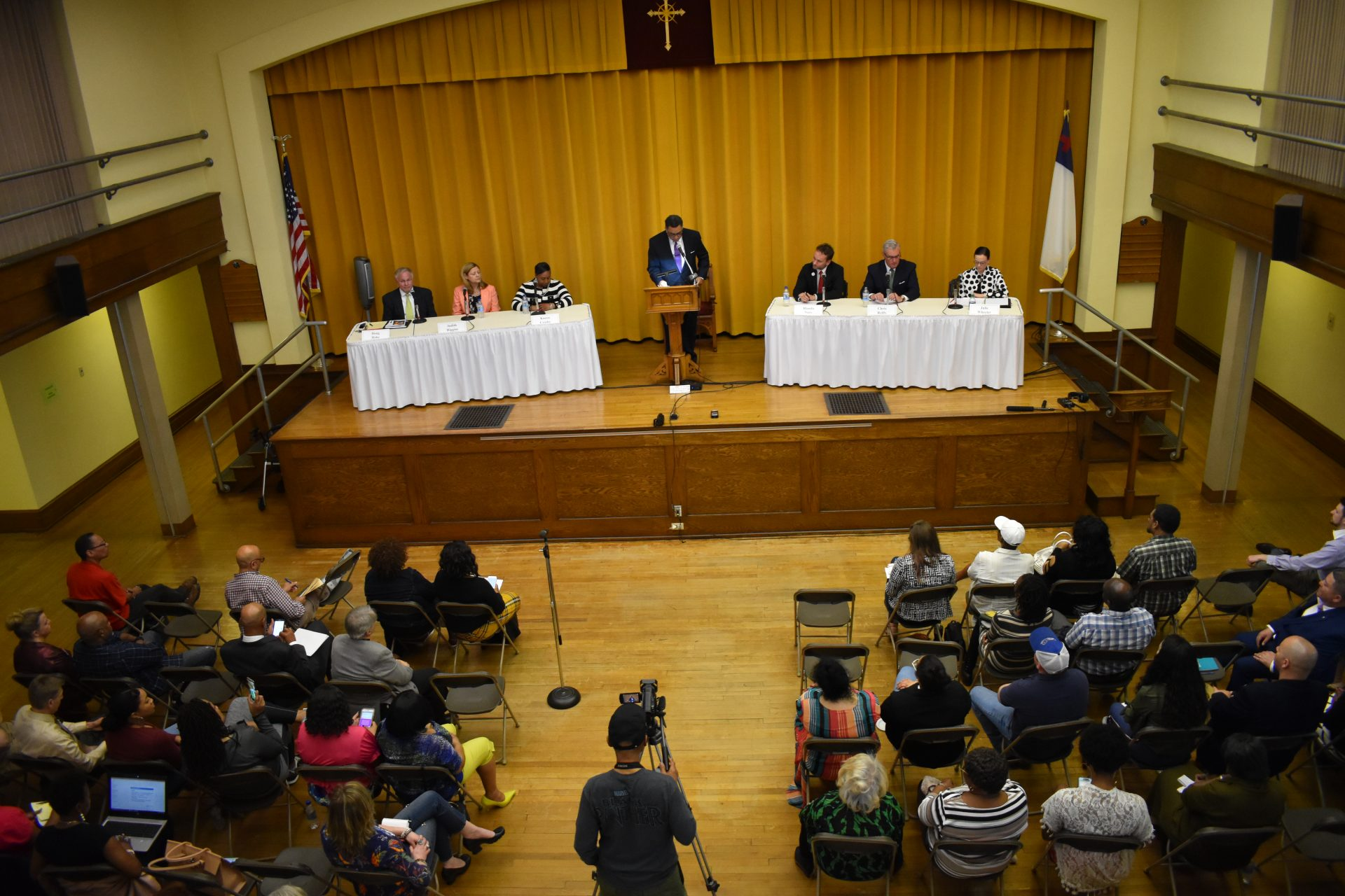 Six candidates for York County commissioner participate in a forum on April 10, 2019, at Zion United Church of Christ in York.