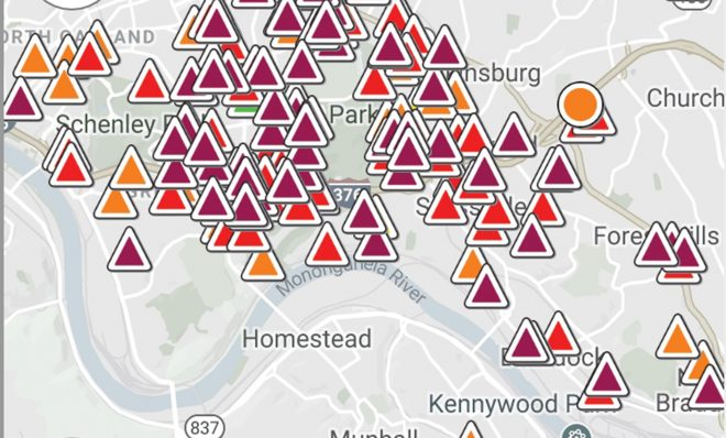 A screen shot of Smell PGH on April 4 shows numerous reports of foul odors in the community.