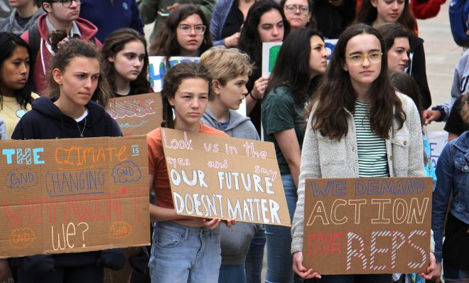 Philadelphia students cut class Friday, May 3, 2019 to participate in a rally at Thomas Paine Plaza to protest inaction on climate change issues.