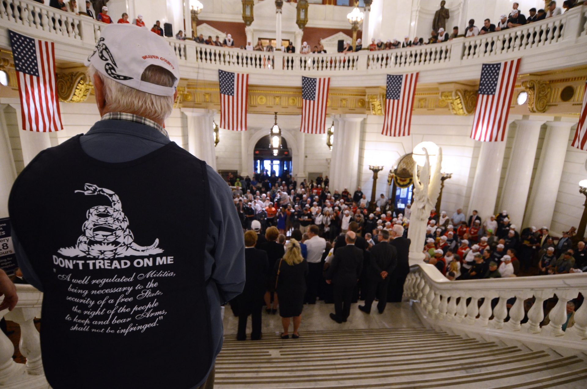 Supporters of gun rights crowd the Capitol rotunda in Harrisburg, Pa., in 2017.