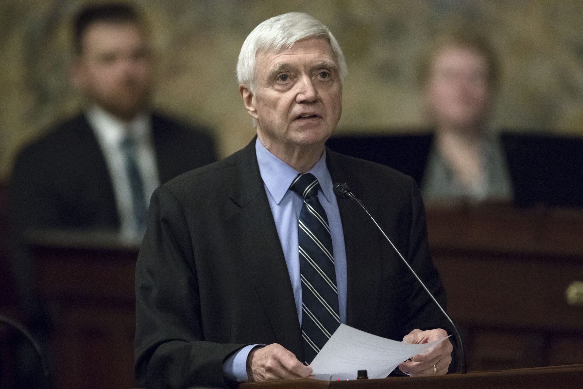 FILE PHOTO: House Minority Leader Frank Dermody, D-Allegheny, speaks before Pennsylvania lawmakers, Wednesday, April 10, 2019, at the state Capitol in Harrisburg, Pa.