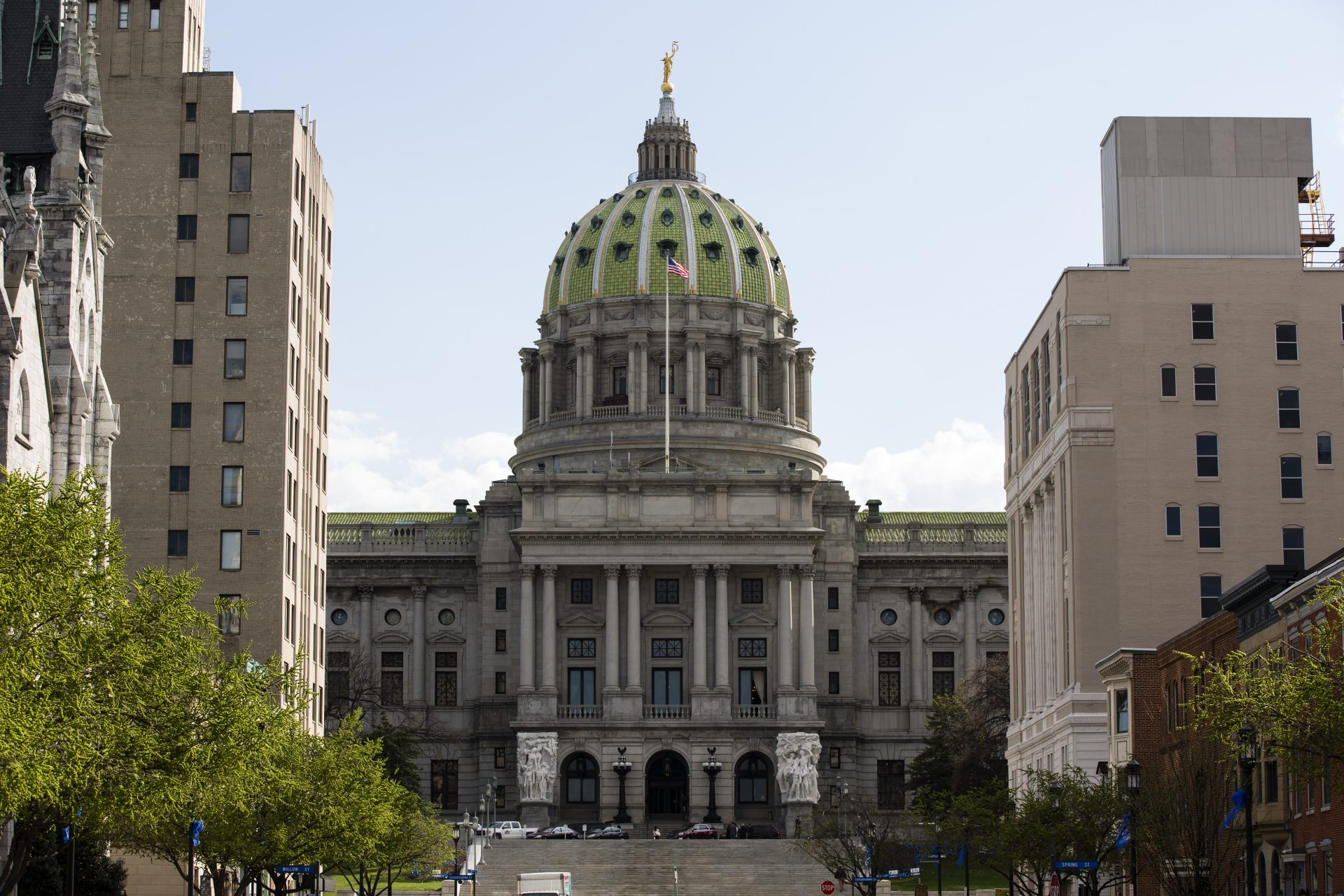 Shown is the Pennsylvania Capitol in Harrisburg, Pa. on the Wednesday, April 10, 2019.