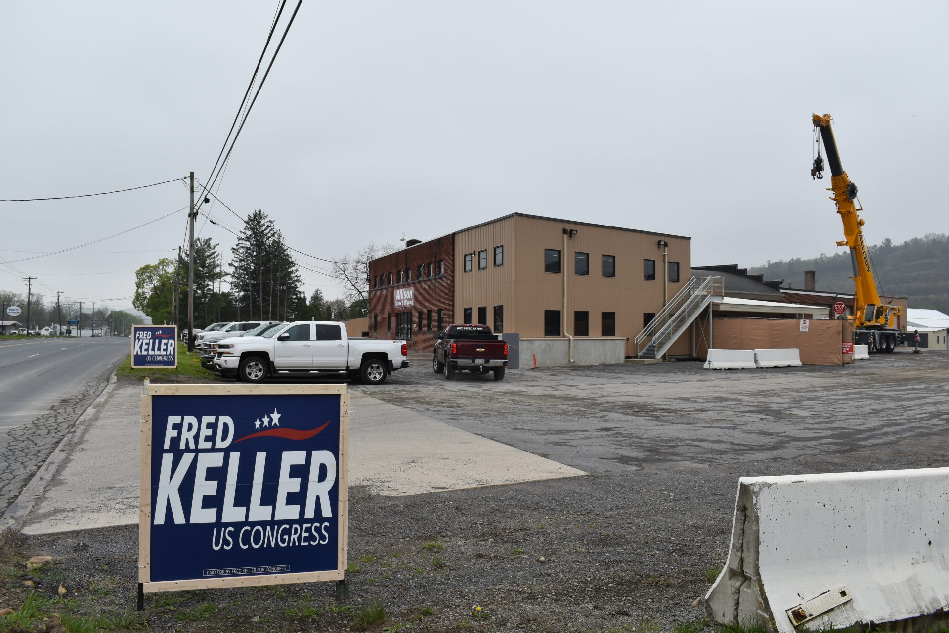 Signs for Republican Fred Keller is seen outside Allison Crane & Rigging in Lycoming County on May 2, 2019.