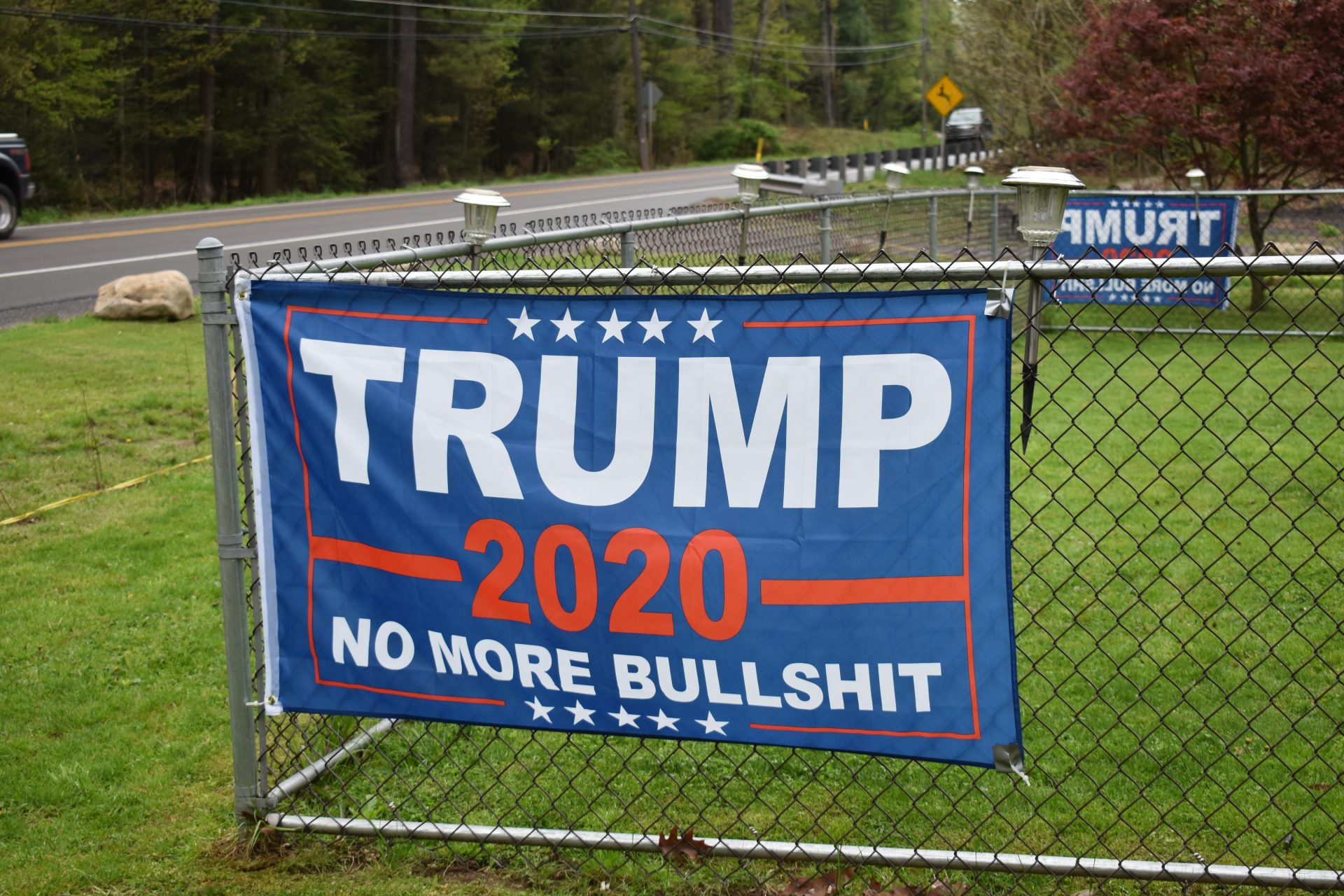 Daniel Klein hung up this flag, seen on May 3, 2019, in support of Republican Donald Trump. Klein has two such flags outside his Wyoming County home.
