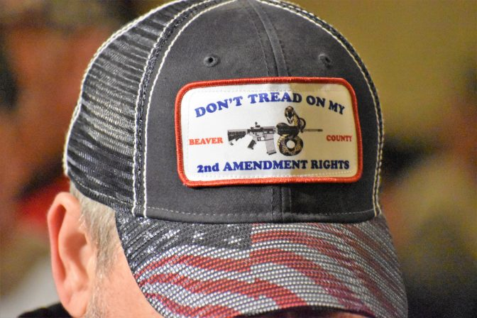 "A man wears a ""Don't Tread on My 2nd Amendment Rights"" hat in the state Capitol during a rally on May 6, 2019."