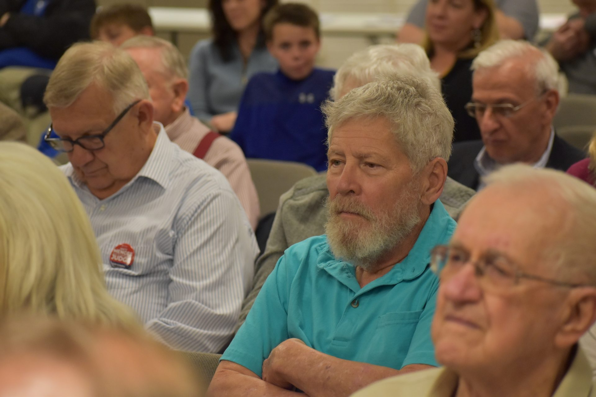 Bonner Smith, center, listens to judge candidates during a debate organized by the Republican Club of York County on April 29, 2019.