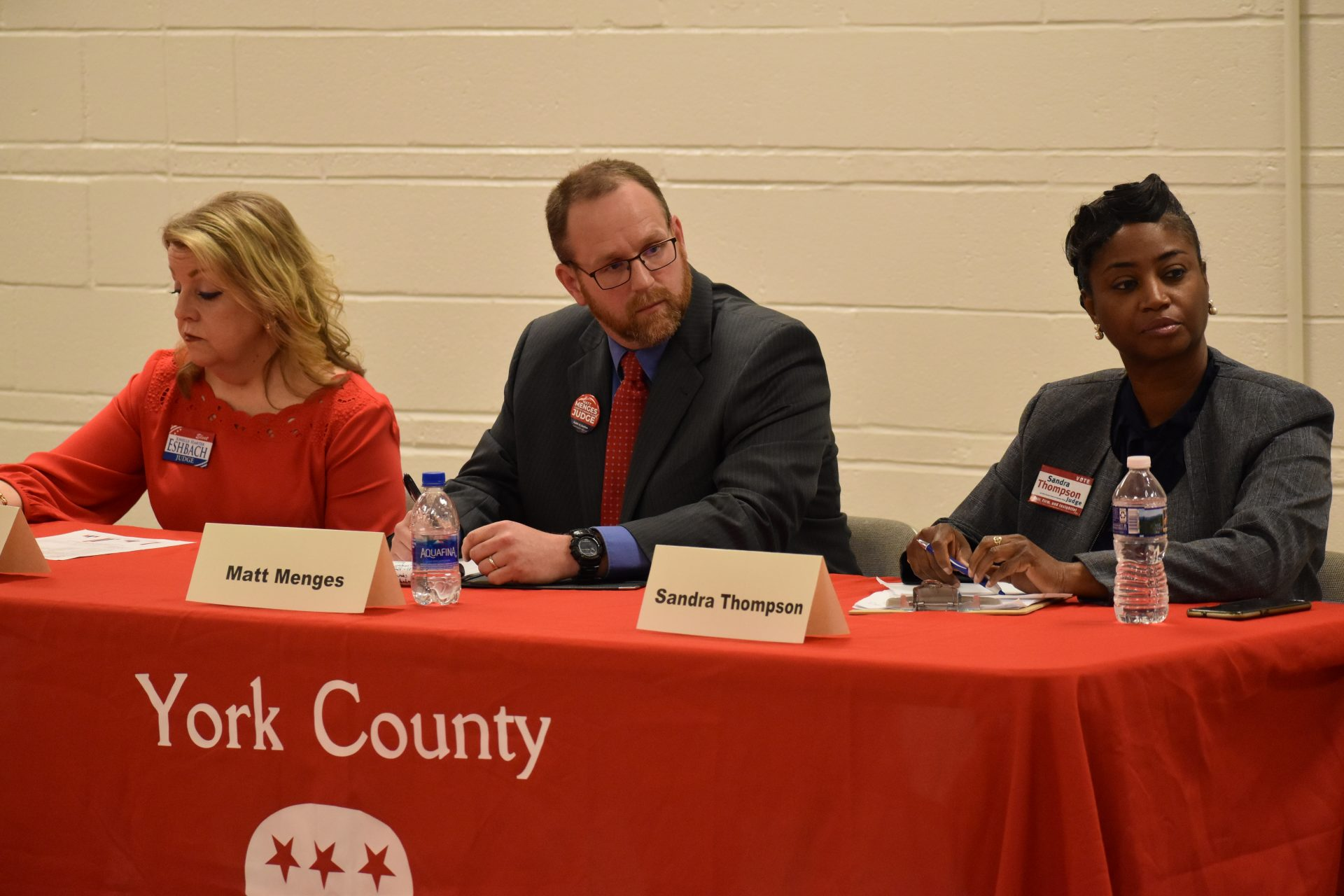 Three candidates for a seat on the York County Court of Common Pleas participate in a debate hosted by the Republican Club of York County on April 29, 2019. From left to right, they are Jonelle Eshbach, Matt Menges and Sandra Thompson.