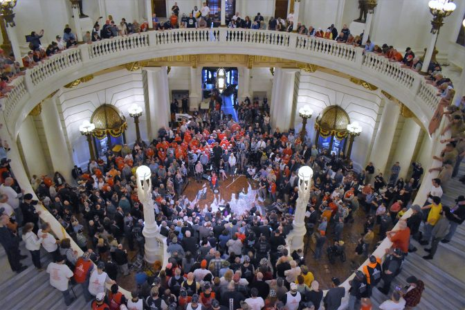 Hundreds of demonstrators gathered at a Second Amendment rally in the state Capitol on May 6, 2019.