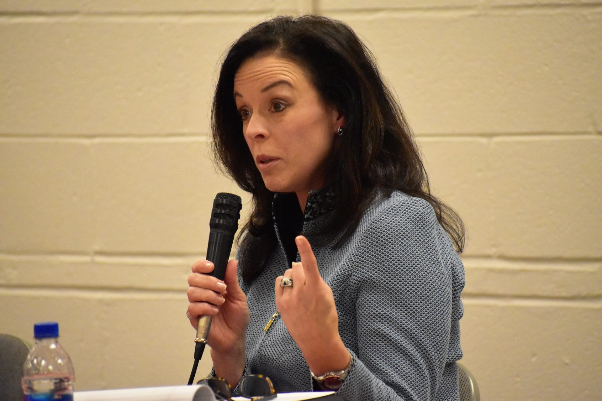 Republican commissioner candidate Julie Wheeler participates in a debate on April 29, 2019, at Shiloh Fire Company in York County.
