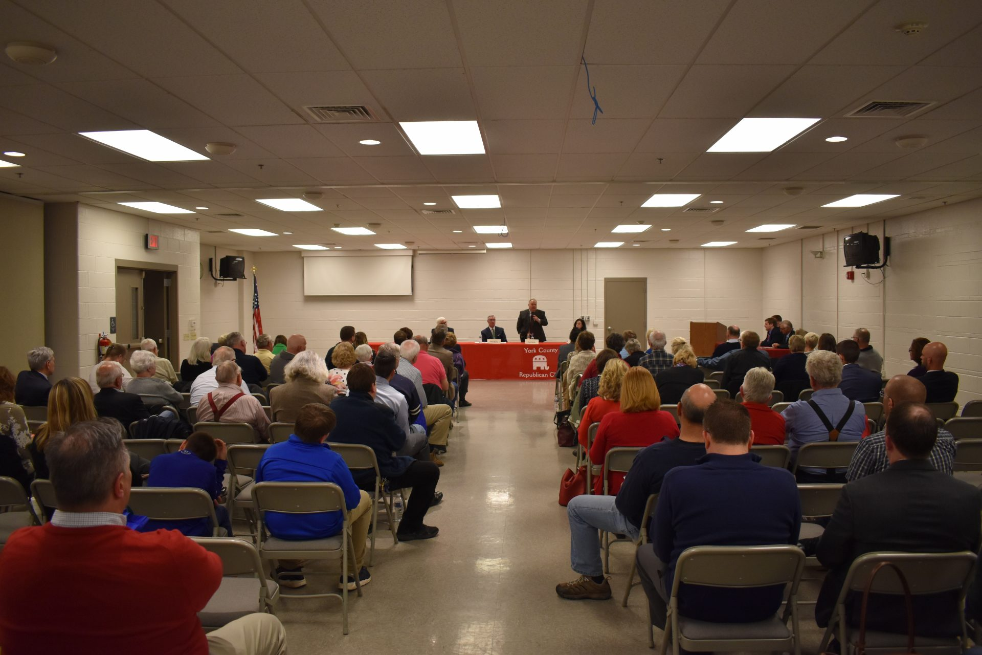 A crowd watches Republican commissioner candidates debate on April 29, 2019, at Shiloh Fire Company in York County.