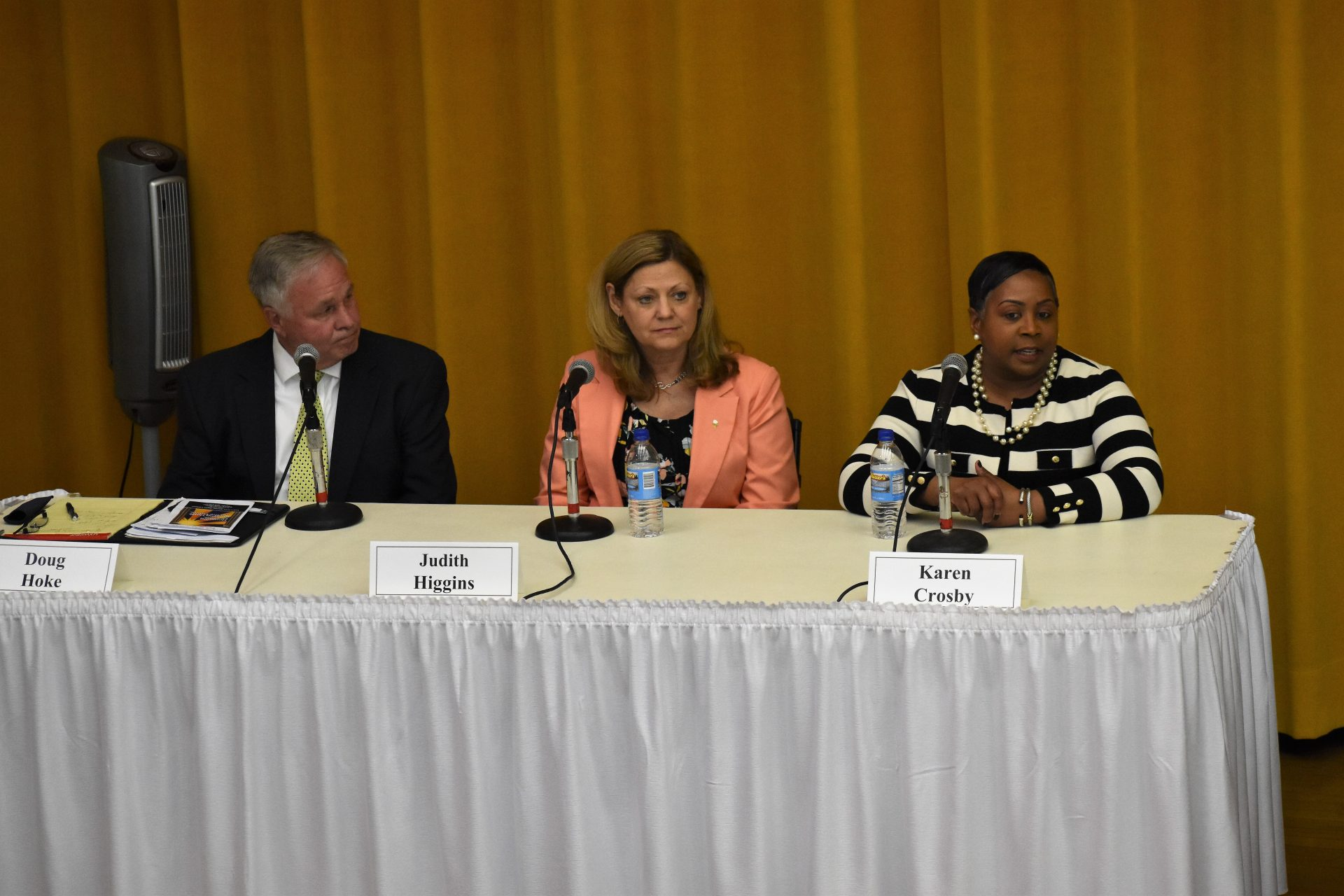 Three Democratic candidates for York County commissioner participate in a forum in York on April 9, 2019. From left to right, they are incumbent Commissioner Doug Hoke, Judith Higgns and Karen Crosby. A fourth Democratic candidate, Madeline Geiman, said she didn't receive an invitation to participate.