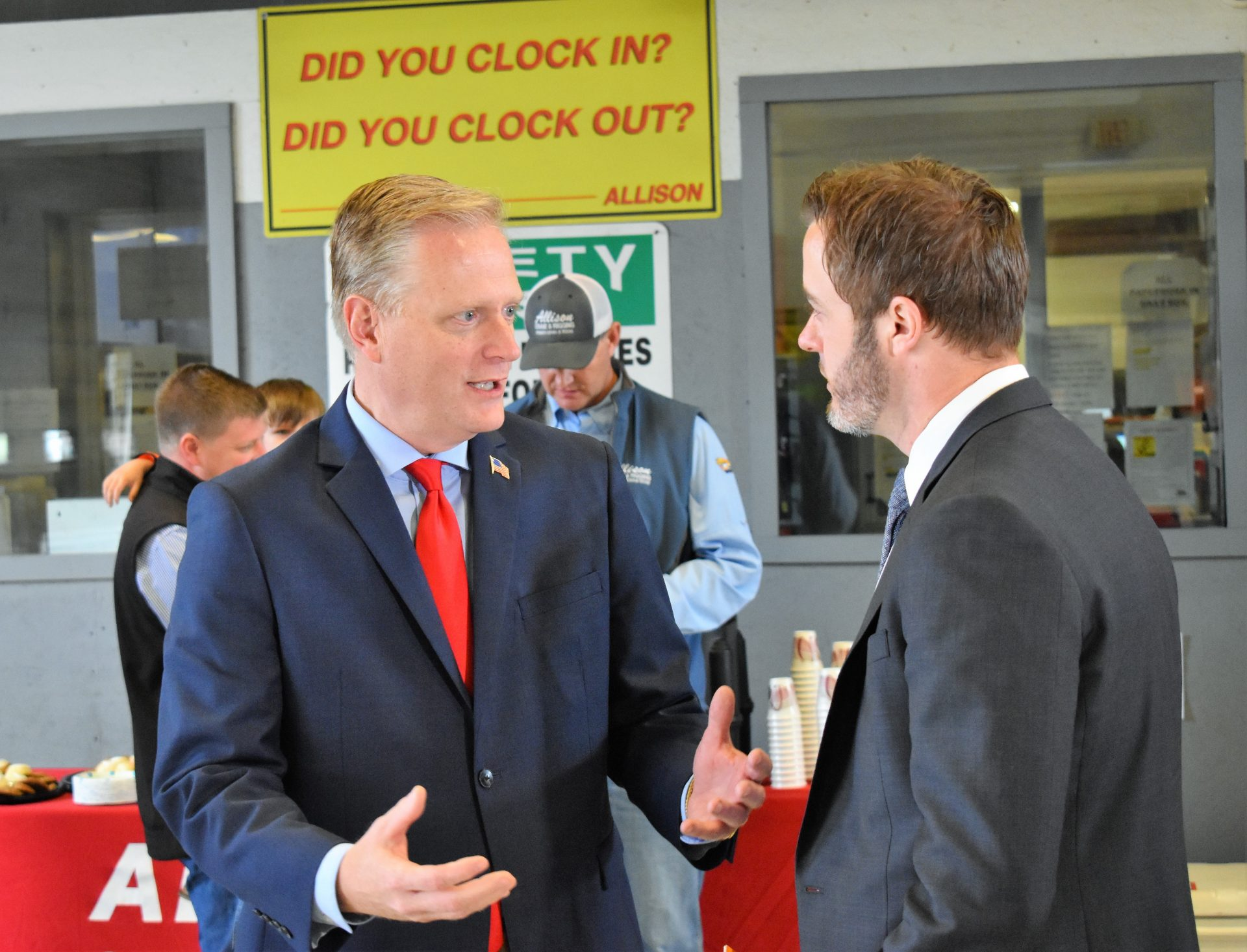 Republican congressional candidate Fred Keller speaks with Ben Taylor of the U.S. Chamber of Commerce on May 2, 2019. The chamber endorsed Keller during an event at Allison Crane & Rigging, outside Williamsport.