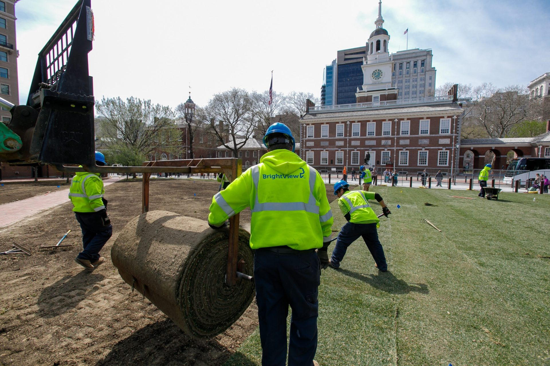 BrightView landscapers work on Independence Mall. Brightview has been the largest employer of H2B guest workers in the country for the last several years.