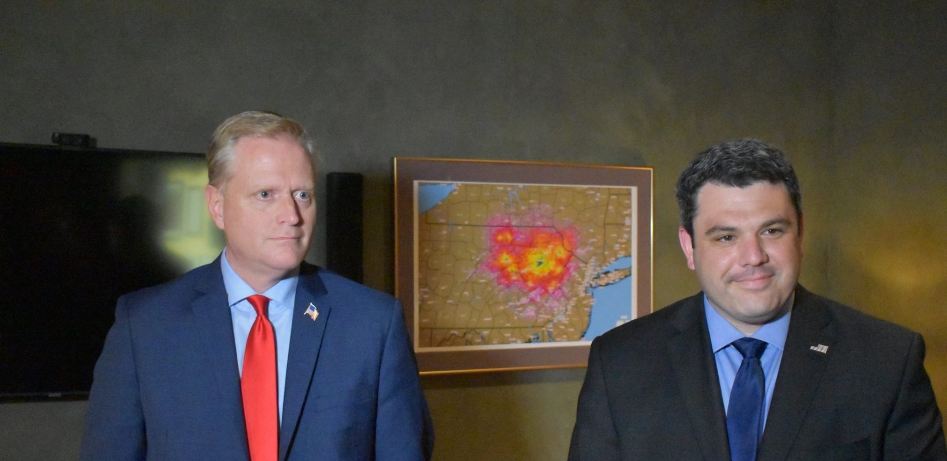 Republican Fred Keller and Democrat Marc Friedenberg meet for a coin toss ahead of the May 2, 2019, debate for the Pennsylvania 12th congressional district.